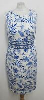 HOBBS Ladies White Blue Porcelain Floral Print Sleeveless Shift Dress UK10