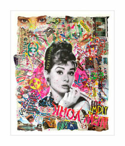 Audrey-Tiffany - Pop Art, Contemporary Art Oil, Acrylic & Collage on Paper