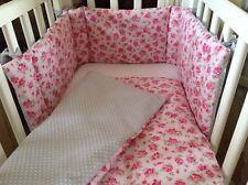 Cushi cots girls swing crib bumper and duvet vintage pink rose on pink/grey new