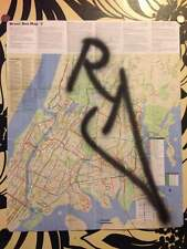 RD357 GRAFFITI sur plan de bus du bronx NYC /Map/taki/quik/seen/cope2/futura/tag