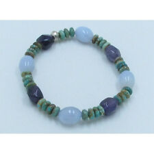 .925 Sterling Silver REAL Kingman Turquoise Amethyst Chalcedony Stretch Bracelet