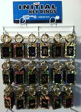 New Reflective Initial Key Rings Chains 108 Piece plastic black gold USA Made