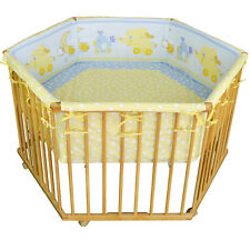 Babylaufgitter Kinderlaufstall Laufgitter Laufstall Babybett + Einlage 6-Eck NEU