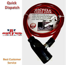 Keylock Bike Bicycle Cycle Spiral Lock 10mm by 650mm 2 Keys Steel Cable Chain.