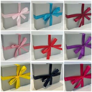 🎈🎁SILVER A4 A5 A6 FLAT PACK GIFT BOX WITH YOUR CHOICE OF RIBBON BIRTHDAY 🎀💗.
