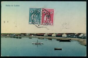 Angola Lobito bayAfrica postcard with stamp postmark original old 1920s
