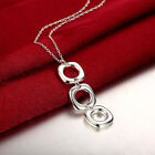 Hot 925 Sterling Silver Fine Long Square Pendant Necklace For Women Jewelry Gift