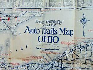 2 ORIGINAL 1925 RAND MCNALLY ohio AUTO TRAILS ROAD MAPS advertising memorabilia