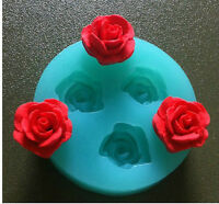 3-Cavity Soap Mold 3D Rose Flower Flexible Silicone Mould Resin Candy Candle