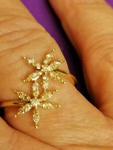 9ct Gold Champagner Diamant Ring ausgefallene Blume Form Ltd Edition 1/3rd CRT