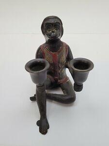 Vintage Bronze Sitting Monkey Bronze Candle Holder Candelabra Red Shirt Used