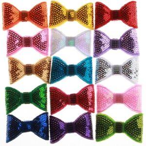 50PCS 5CM Fashion Shiny Sequin Bows For Girls Hair Accessories Appliques Hair