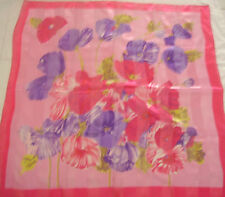 """PINK PURPLE  GOLD BORDERS POLYESTER SCARF SARONG WRAP Approx 40"""" x40"""""""