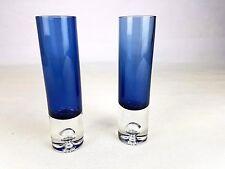 COPPIA 2 x Iittala Finlandia Tapio Wirkkala vaso blu in vetro regalo di bolle 3586 firmato
