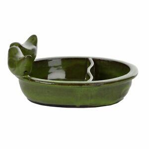 Fallen Fruits Small Green Oval Bird Bath/Feeder - Ceramic