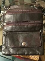 Small Ladies Dark Brown LEATHER shoulder bag - Leather Smells Awesome!