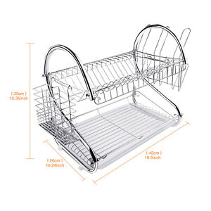 2 Layer Stainless Steel Kitchen Dish Rack Cup Drying Drainer Tray Cutlery Holder
