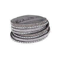 New Fashion Leather Wrap Wristband Cuff Punk Rhinestone Bracelet Bangle Gray