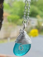 Teal  green sea glass pendant  necklace