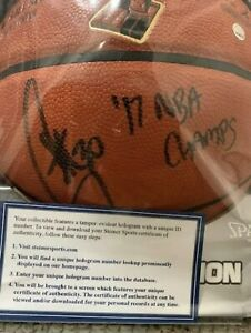 STEPHEN CURRY SIGNED SPALDING NBA FINALS BASKETBALL  STEINER 17 NBA CHAMPS