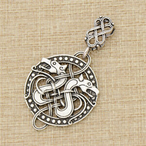 Silver Eltic Knots Dragon Pendant Hollowed-out Carved Nordic Viking Norse