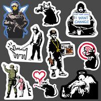 9x Banksy Sticker set vinyl graffiti street art stencil car bike fun skate decal