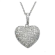 """NEW  PAVE  PUFFED HEART CLEAR CUBIC ZIRCONIA  PENDANT NECKLACE 24MM -16 TO 18"""""""