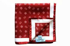 Battisti Pocket Square Red with white paisley, pure silk