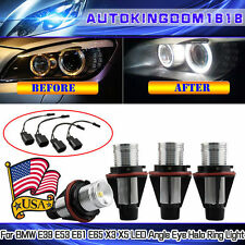 4x 6000K White ANGEL EYES 10W LED HALO Ring Marker Light For BMW E39 E53 E60 E61