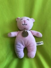 """Carter'S My First Bear Teddy Bear pink baby rattle toy plush 9"""" lovey soft New"""