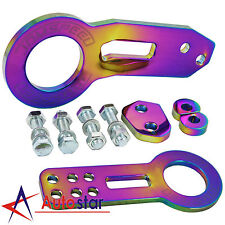 Neo Chrome JDMSPEED Billet Aluminum CNC Anodized Racing Front Rear Tow Hook Kit
