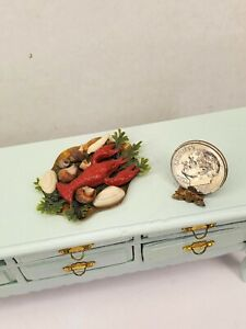 Vintage 1982 Lobster Dinner Seafood Tray Dollhouse Miniature 1:12 Shells Artisan