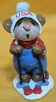 Wee Forest Folk USA Skier Mouse White Pom Pom Figurine WFF MS-09 Dated 1979 Ski