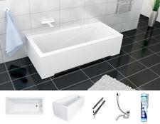 Badewanne Rechteck Wanne 120 130 140 150 160 170 x 70 180x80 -/+ Schürze Ablauf