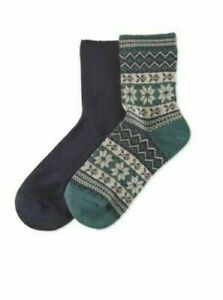 HUE 2-pack wintersoft ultra soft women's boot socks - Navy/Green- One size