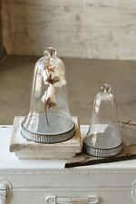 Farmhouse Style Glass Cloche Bell Jar Dome with Galvanized Metal Base~Large