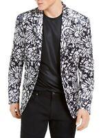 INC Mens Blazer Black Gray Large L Velvet Slim-Fit Floral Two-Button $149 345
