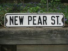 """Mid-century NEW PEAR ST. #5 metal vintage antique street sign 24""""x6"""""""