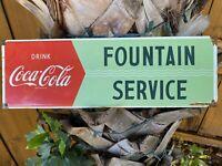 VINTAGE COCA COLA PORCELAIN METAL SIGN USA FOUNTAIN SERVICE SODA POP ADVERTISING