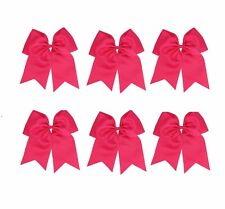 "USA 10 JUMBO 8"" HOT PINK Cheer Bow Ponytail Holder Big Girls Large Hair Bows"