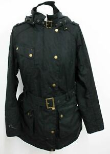 BARBOUR Womens Black Hairpin Waxed Hooded Belted Jacket Size UK16 EU42