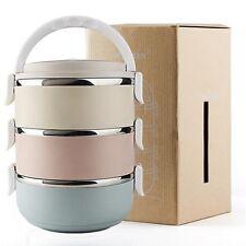 3-Tier Edelstahl Lunchbox Brotzeitdose Thermo Vesperdose Isolierbehälter