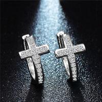 Elegant Women Silver Plated Cross Cubic Zirconia Hoop Huggie Earrings Jewelry