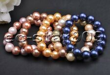 "Round Shell Pearl Bracelet 5Pcs P6055 wholesale Stretch 8"" 12mm"