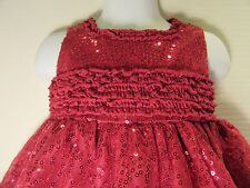 BABY GIRL SPECIAL OCASSION DRESS SEQUIN SIZE 18 M CRANBERRY RED