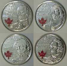 2012 - 2013 Canada Brock, Tecumseh, Secord and Salaberry Coloured 25 Cents BU