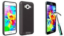 Black Hybrid Case Samsung Galaxy Grand Prime SM-G530H G530W with Tempered Glass