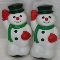 Vintage Toro Christmas Snowman Blow Mold Light Topper Decoration 9 inch Lot of 2