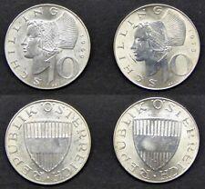 2 Silbermünzen Österreich, 10 Schilling Kursmünzen 1969 u. 1973 (4350)