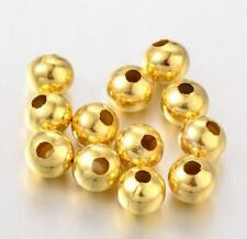 50 gold plated large hole acrylic round beads lgh-6gt hole: 2.9mm 6mm